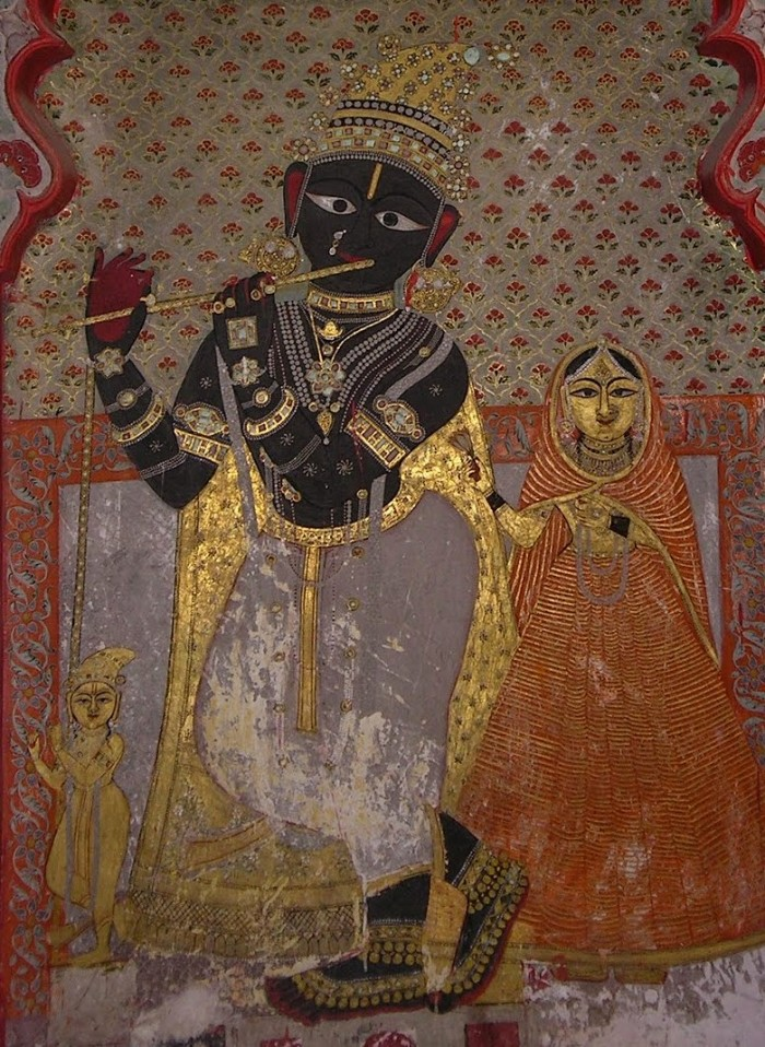 Painting of Krishna on interior wall City Palace, Udaipur